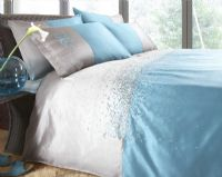 BEAUTIFUL 2 TONE TEAL COLOUR SATIN EFFECT DUVET COVER LUXURY BEDDING